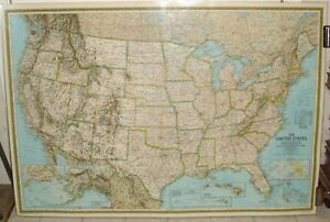 1986 UNITED STATES MAP BY NATIONAL GEOGRAPHIC FULLY LAMINATED READY ...