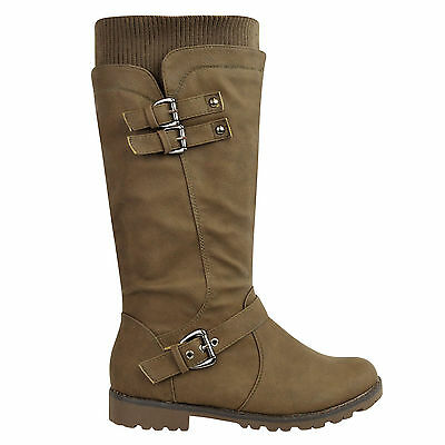 Ladies Womens Flat Grip Sole Wide Leg Calf Knee High Winter Riding Boots Size