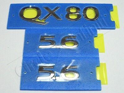 New OEM Infiniti QX80 Rear Emblem /& Two 5.6 Fender Emblems Kit