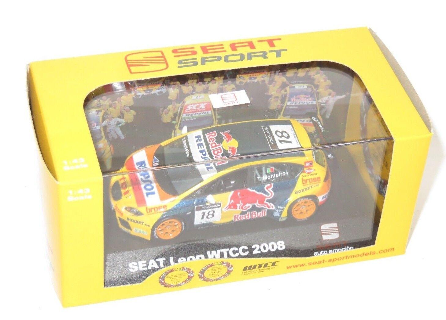 1 43 rojo Bull Repsol Seat Leon WTCC 2008 T. Monteiro World Touring Coche