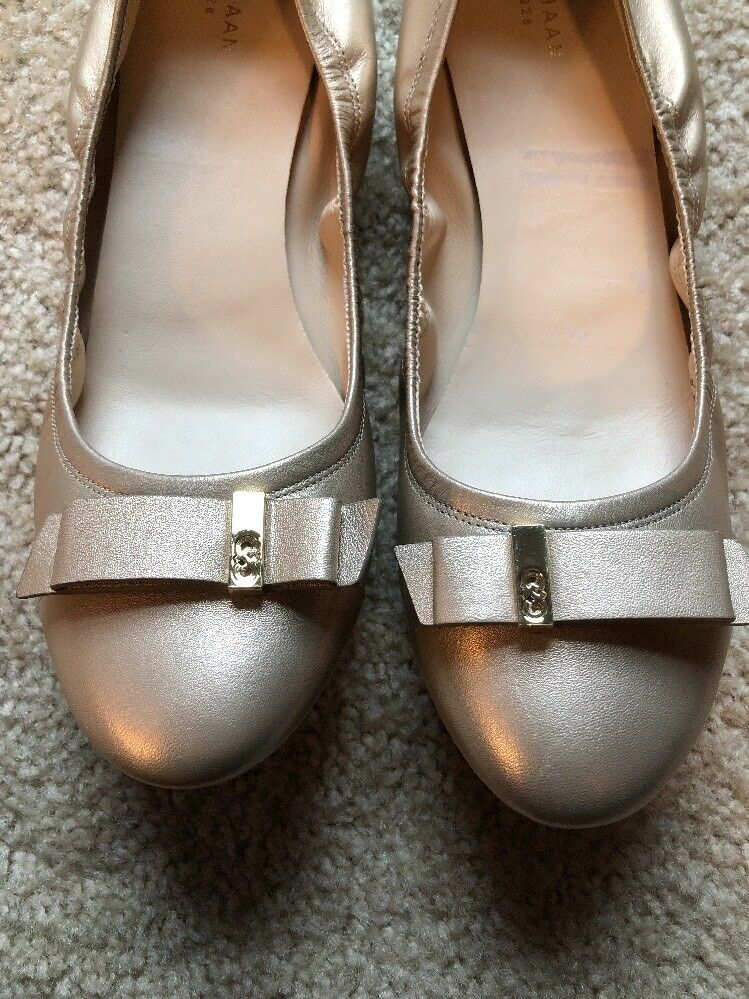 New New New  Cole Haan Tali Grand OS gold Leather  gold bow ballet flats size 11 80c066