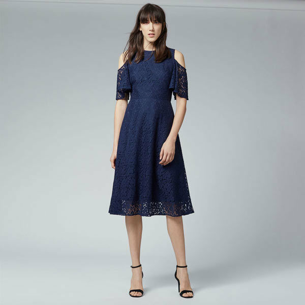 BNWT  WAREHOUSE NAVY COLD SHOULDER LACE DRESS  SIZE  WEDDING GUEST