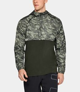 Men-039-s-Under-Armour-UA-Sportstyle-Anorak-Fitted-Camouflage-Green-Pullover-XXL