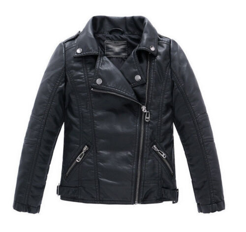 new  Children Girls Coats And Boys Leather Casual Turn-down Collar Jacket