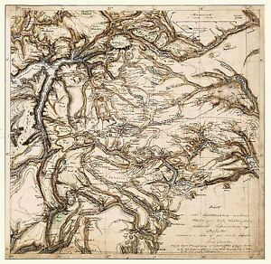MAP-ANTIQUE-1843-MUNCH-HARDANGER-VOSS-NORWAY-LARGE-REPLICA-POSTER-PRINT-PAM0303