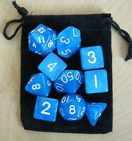Starry Blue RPG D&D Dice Set: 7 + 3d6 = 10 polyhedral die plus bag!