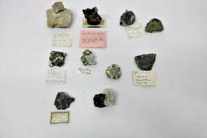 10 Mineralien Wismut Hubnerit Bleiglanz Pyrit usw