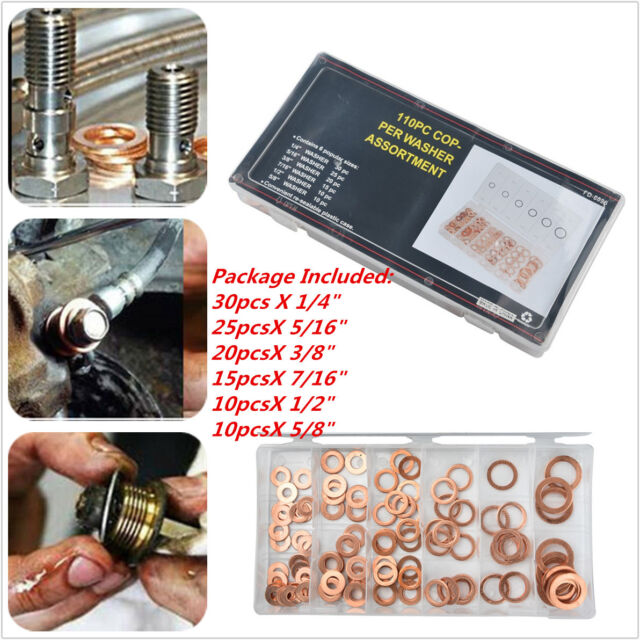 """110 Pcs 1//4/""""-5//8/"""" Engine Oil Drain Copper Ring Gaskets Flat Washer Set Seal Kit"""