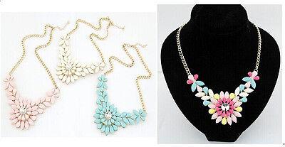 New Women Fashion Luxury Resin Drop Leaf Flower Choker Bib Necklace Multicolor