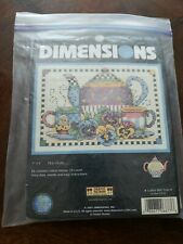 """Teatime Pansies Mini Counted Cross Stitch Kit 7/""""X5/"""" 14 Count 088677068776"""