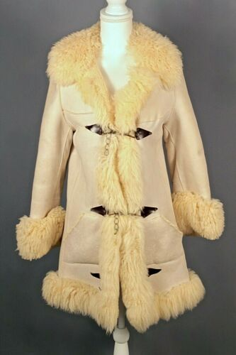 VTG Women's 70s Beige / Ivory Shearling Coat Sz XS