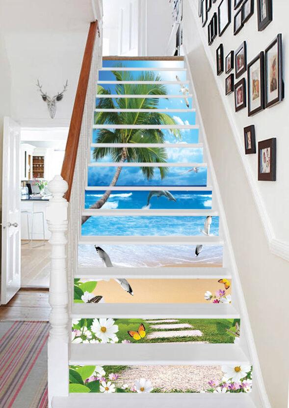 3D Strand Kokosnuss Stair Risers Dekoration Fototapete Vinyl Aufkleber Tapete DE