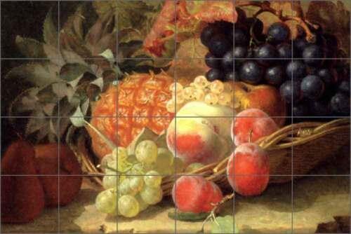 Ceramic Tile Mural Kitchen Backsplash Stannard Pineapple Grapes Fruit Art EHS002