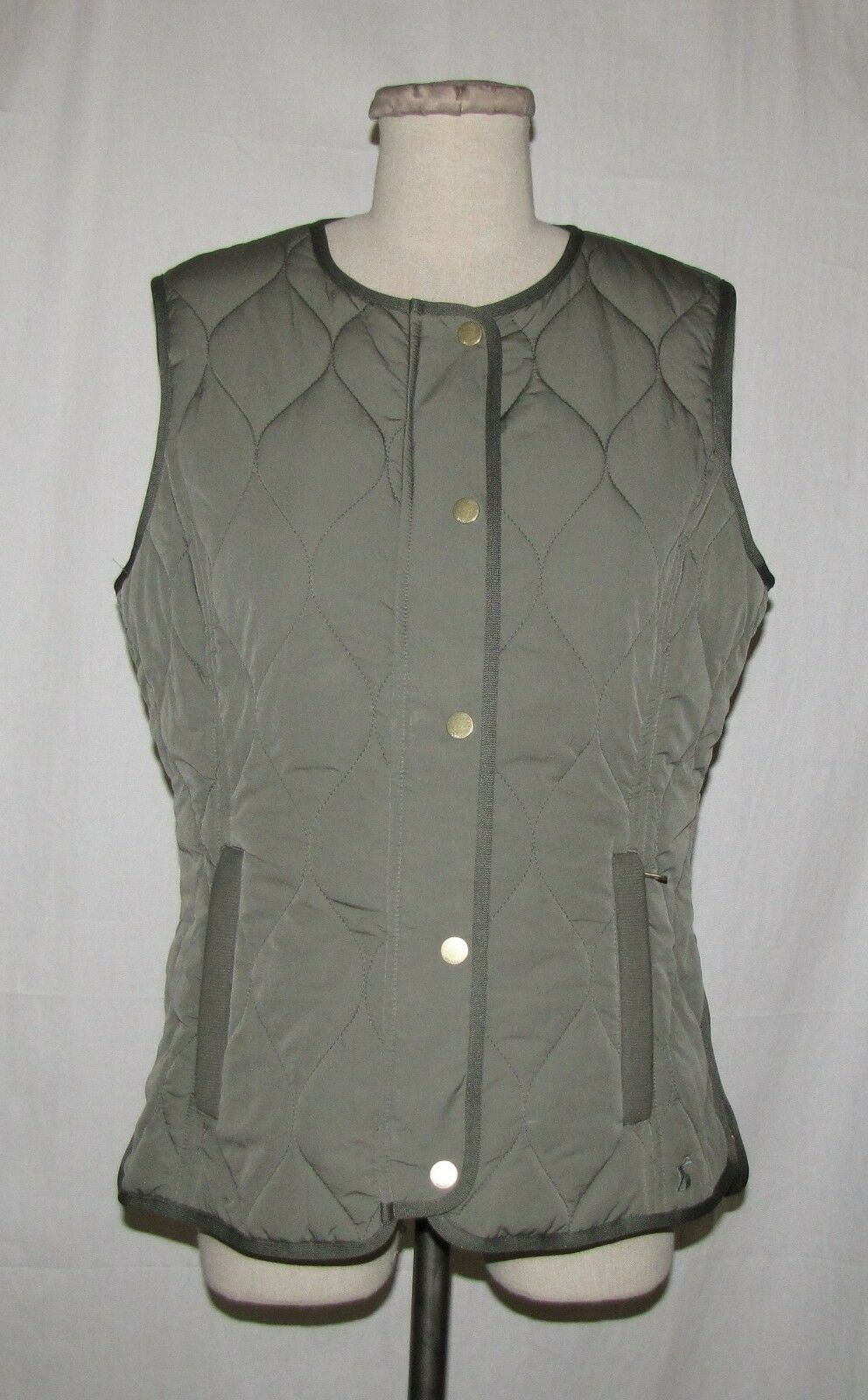 Joules  Jinty  Soft Khaki Oval Quilted Collarless Hidden Zip Vest Size 10 NWT