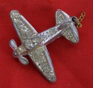 Vintage Airplane Rhinestone Pin Pinback