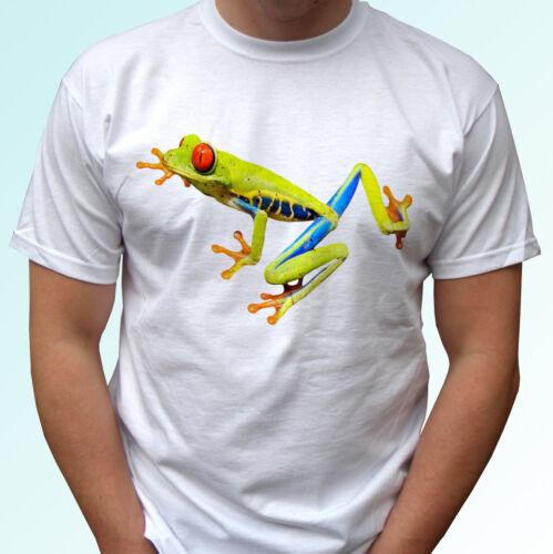 Red Eye Frog white t shirt green animal tee top design mens womens kids baby