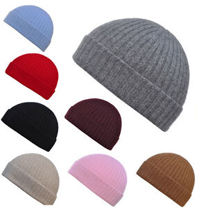ab8e5bbe921 Image is loading Mens-Womens-Luxury-100-Cashmere-Ribbed-Beanie-Hat-