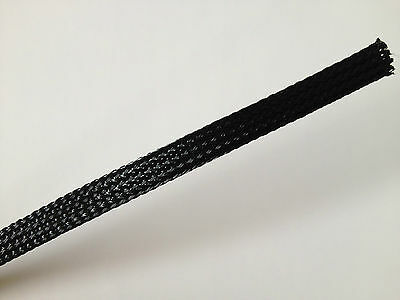 2 meters  Black Tight Braided PET Expandable Sleeving 6mm