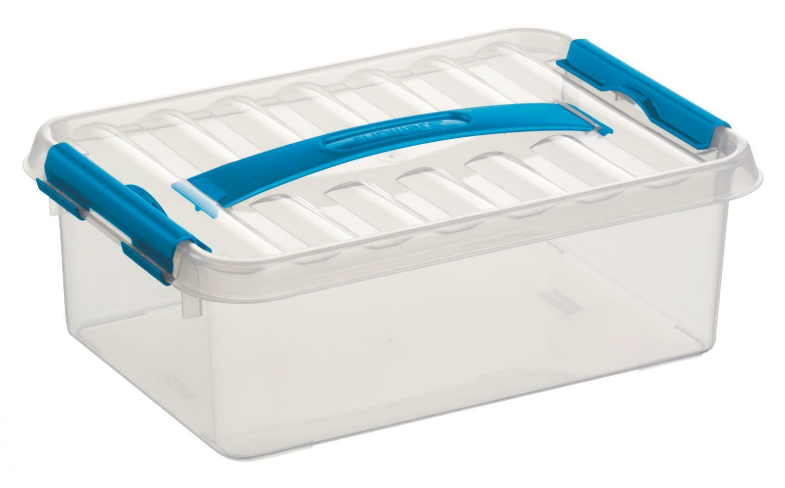 6 x SUNWARE Q-Line Box mit Griff - 4 Liter -300 x 200 x 100 mm- transparent blau