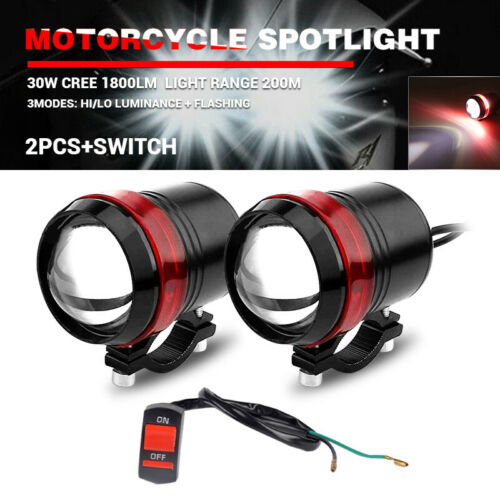 2X Motorcycle Hi-Lo Spot Light LED Driving Headlight Fog Lamp w// Switch Red Halo