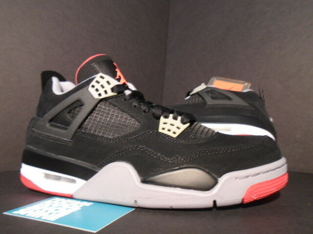 new style 56d2e 0c5bc Nike Air Jordan IV 4 Retro Black cement Grey-fire Red Bred 2012 308497-089  Sz 8 for sale online   eBay