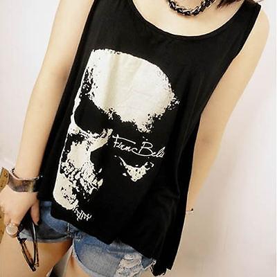 Lady Sexy Tassel Backless Skull Punk Singlet Sleeveless T Shirt Vest Tank Blouse