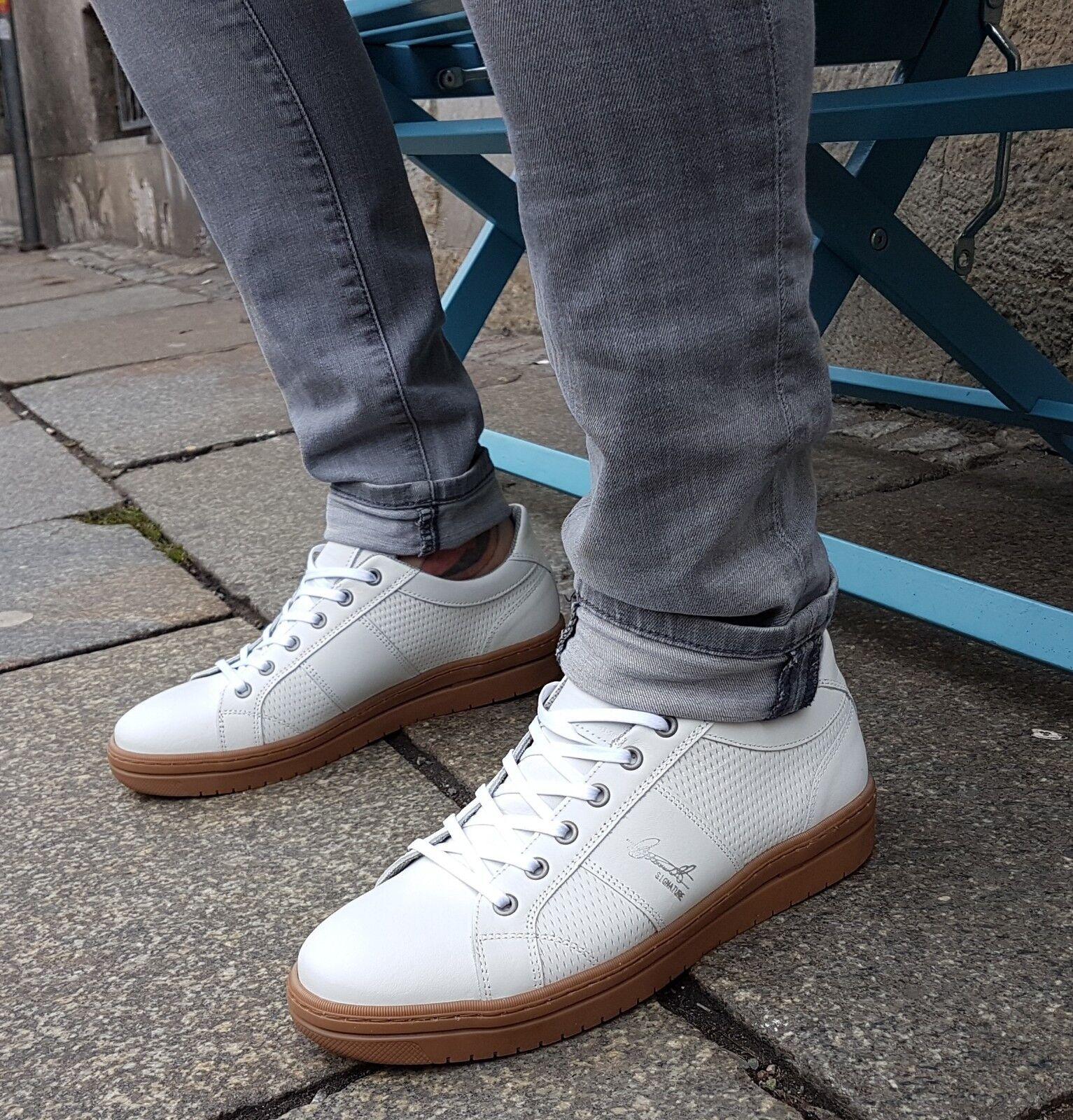 Bullboxer zapatos 116 K 25742 dptwhsu 00 blancooo cuero auténtico zapatillas con cordones orginal