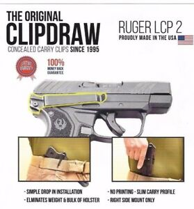 Details about Clipdraw Belt Clip for Ruger LCP 2 II 380 IWB OWB Black -  Right Mount - Holster