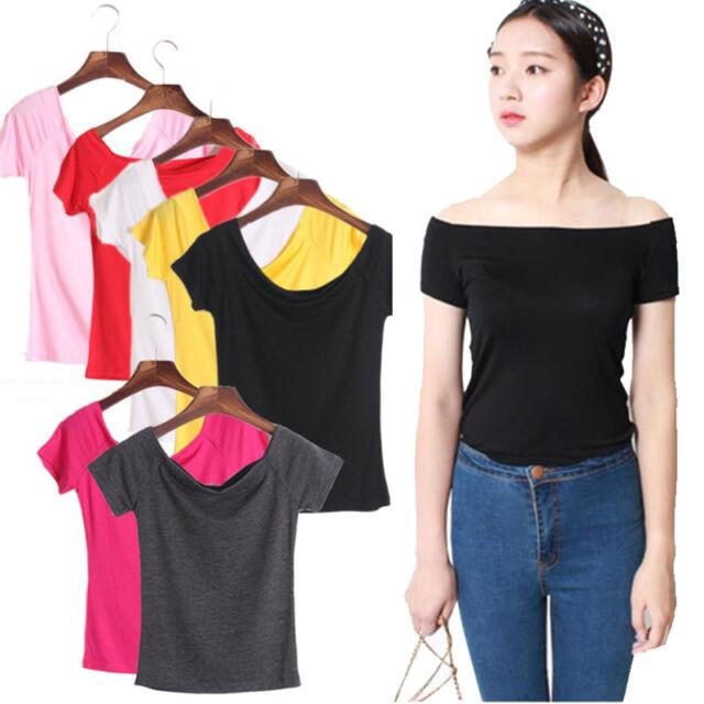 2017 Women Summer Off-shoulder T-Shirt Tops Short Sleeve Casual Tank Tops Blouse