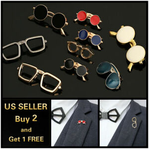 Sunglasses-Men-039-s-Brooch-Lapel-Badge-Suit-Pin-Chest-Metal-Collar-Pin-Accessories