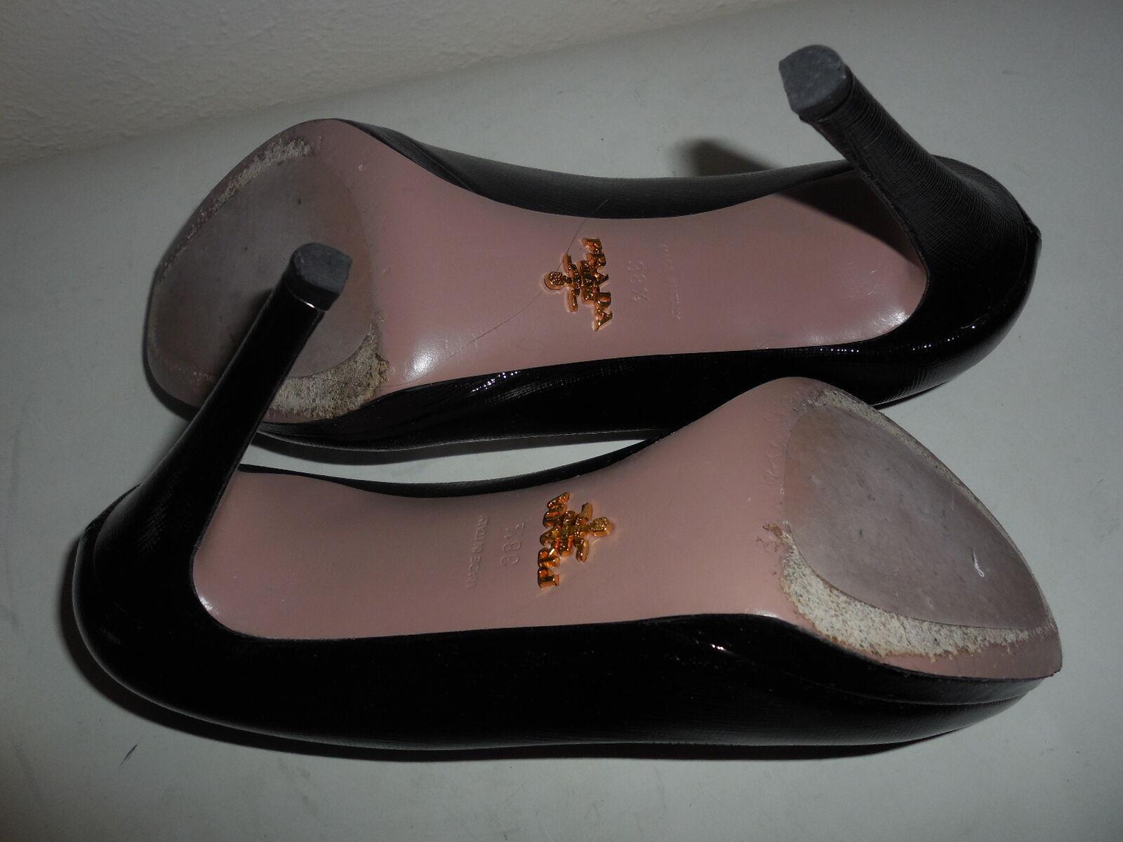 Sz. 8.5 Prada Saffiano Patent Leather Almendras Toe Platform Bombas tacón Zapatos de tacón Bombas negro f6857c