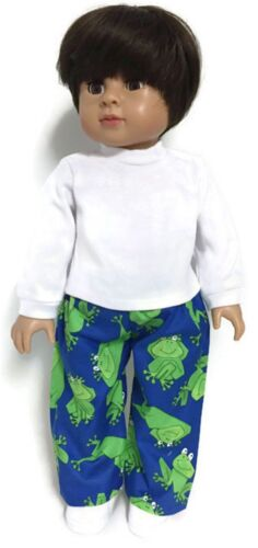 """White Long Sleeved Top /& Frog Pants Boy fits 18/"""" American Girl Doll Clothes"""