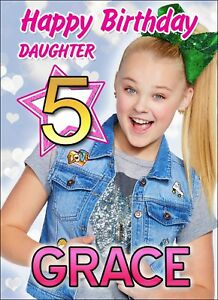 Image Is Loading JoJo Siwa PERSONALISED Birthday Card NAME AGE RELATION