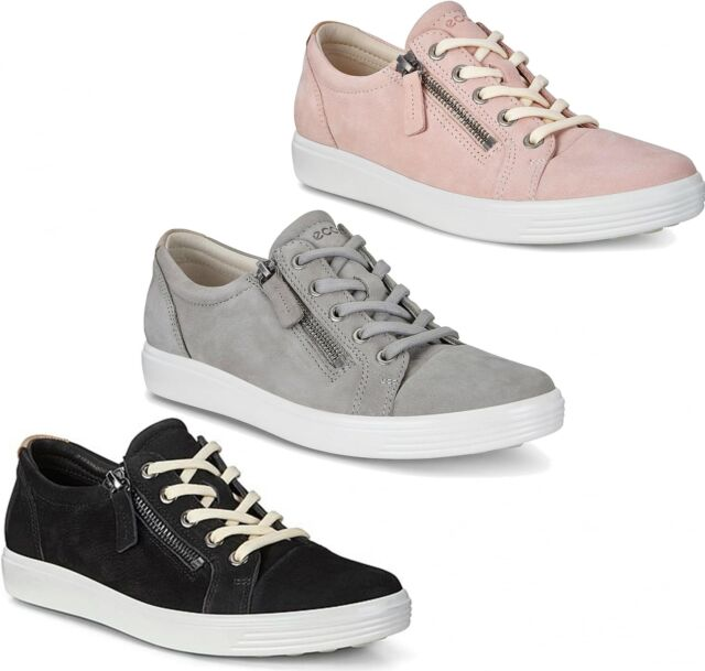 more photos 80f61 d190e ECCO SOFT 7 Ladies Womens Leather Lace Up/Zip Casual Low Top Retro Trainers