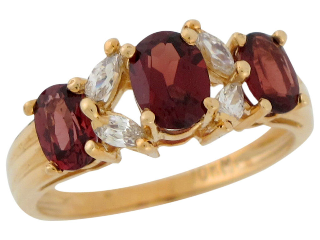 10k or 14k Yellow gold Natural Garnet White CZ Sophisticated Ladies Ring