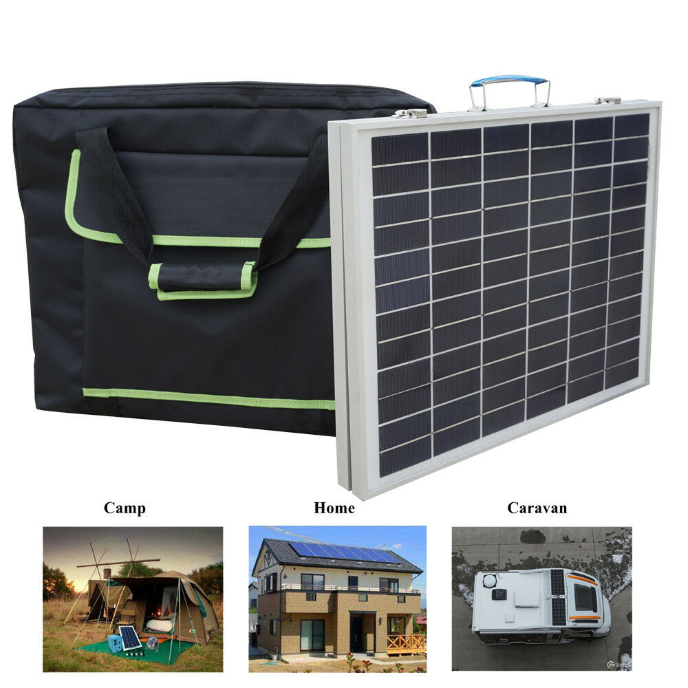 Portable 50W Folding Solar Panel Kit w/3A Controller &Bag for 12V Battery charge