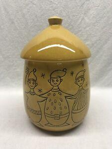 Vintage-Ceramic-Christmas-Cookie-Jar-With-Elves-Yellow-Glaze