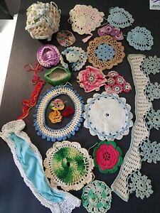 Hand-Crocheted-Doilies-Hearts-Hats-Vintage-Craft-Pieces-Post-1940s-Lot-of-25