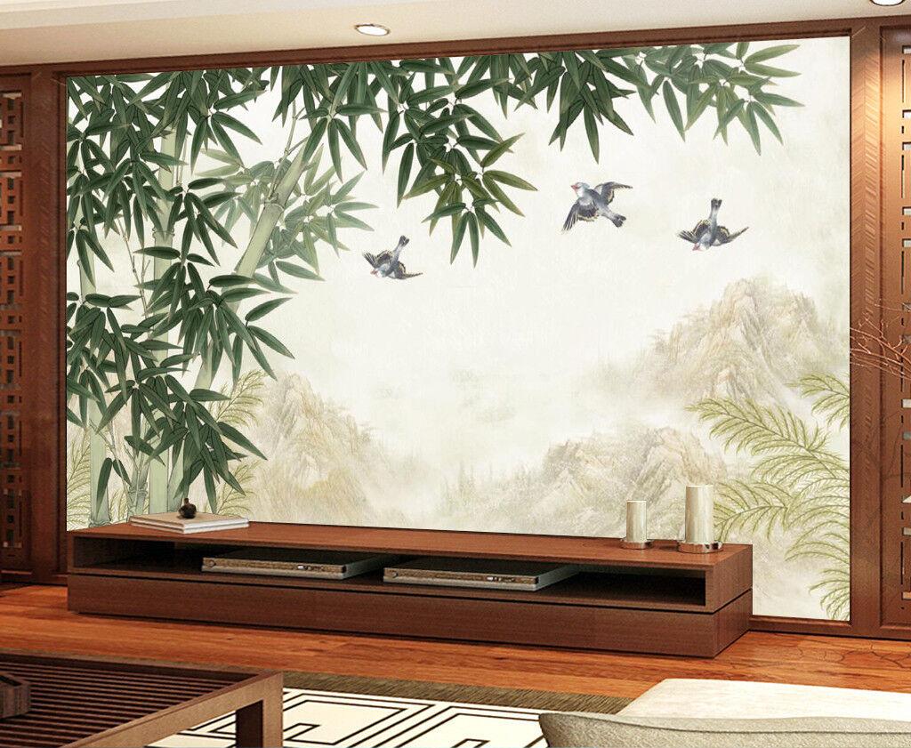 3D Bambuswald Vogel 8893 Tapete Wandgemälde Tapeten Bild Familie DE Jenny