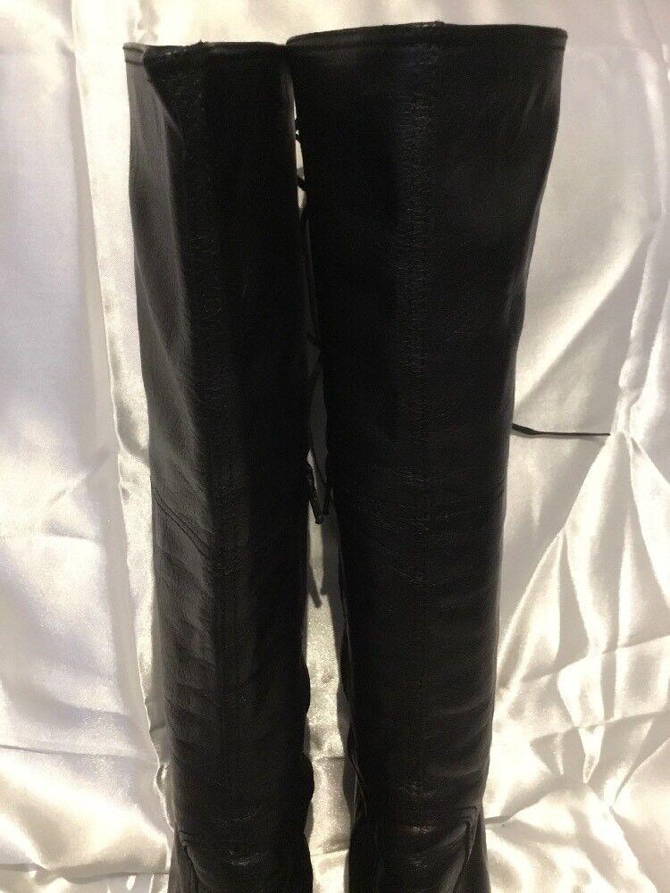 Miu MIU Cuero Hasta Negro botas Hasta Cuero La Rodilla Talla 38 865c0d
