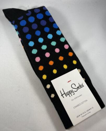 MEN/'S HAPPY SOCKS BRIGHT COLORFUL POLKA DOT PATTERN DRESS SIZE 10-13 CREW SOCKS