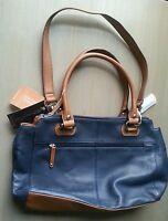 Tignanello Handbag Pebble Leather Blue Shopper Double Handles And Strap $175