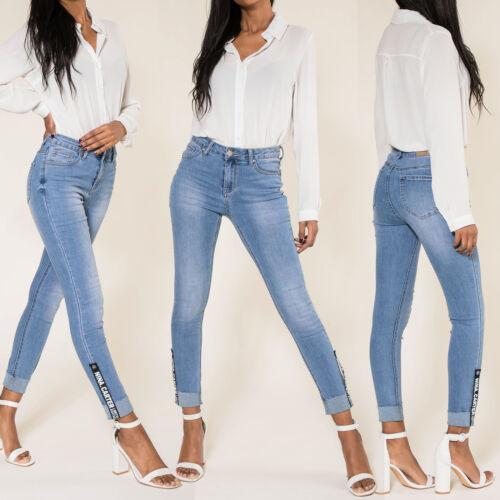 Donna Blu Skinny Alzare Jeans Taglia 6 8 10 12 14 16
