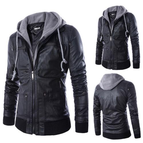 exteriores motocicleta de prendas hombres con abrigo de Fit Moda de de los chaqueta la vestir Negro Slim Pu cuero capucha q4HnFzw