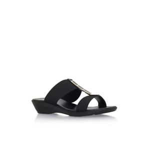 a4b43506012 BNIB Solea Comfort Black Flat Low Wedge Heel Stretch 2 Strap Mule ...