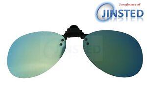 Piloto-con-espejo-reflectante-verde-Clip-en-Levante-de-Sol-sunnies-sombra-ACP036
