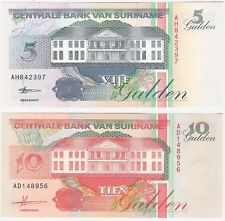 Suriname 5 & 10 Gulden 1996 1998 UNC Uncirculated Banknote Set - 2 pcs