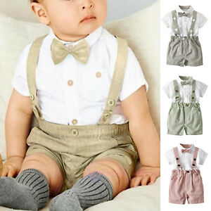 4d320854b 0-24M Newborn Baby Boy Wedding Formal Suit Bowtie Gentleman Romper ...