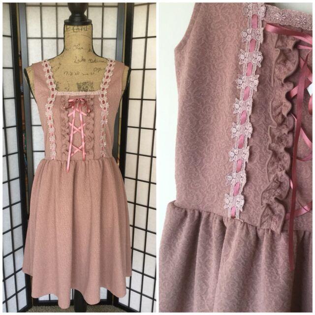 Axes Femme M Rose Textured Dress Mauve Dusty Pink Scroll Flower