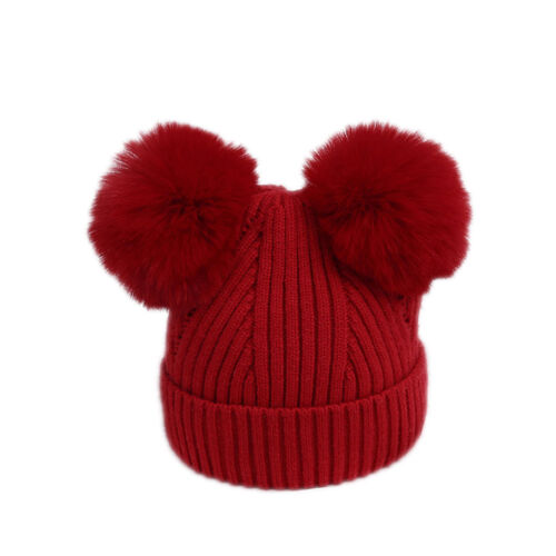 Dual Ball Pompom Baby Newborn Warm Hat Knitted Solid Color Toddler Beanie Cap